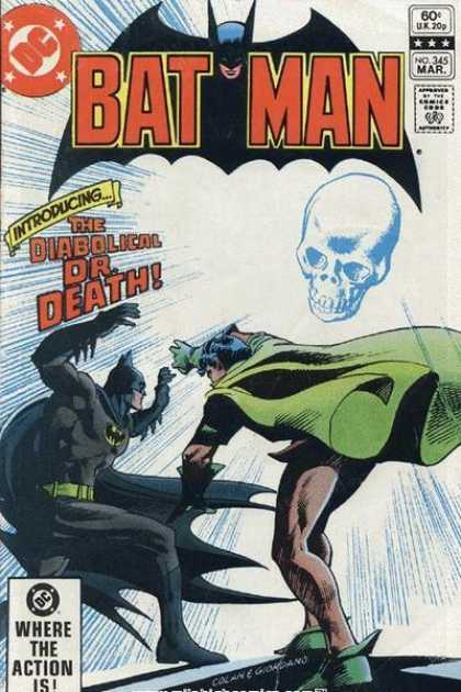 Batman 345 - Introducing The Diabolical Dr Death - Where The Action Is - The Menacing Skull In The Sky - Batman And Robin Versus Dr Death - Fighting Evil Images - Dick Giordano, Gene Colan
