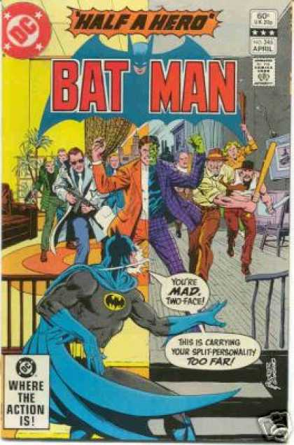 Batman 346 - Half A Hero - Mad - Two-face - Where The Action Is - Split-personality - Dick Giordano, Richard Buckler