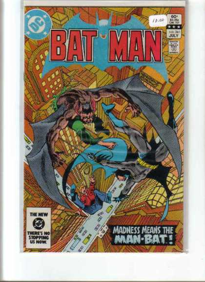 Batman 361 - Madness Means The Man-bat - Vampire Chasing Batman - July Issue - Batman Falling To Ground In City - Batman Trying To Save Another Man - Dick Giordano