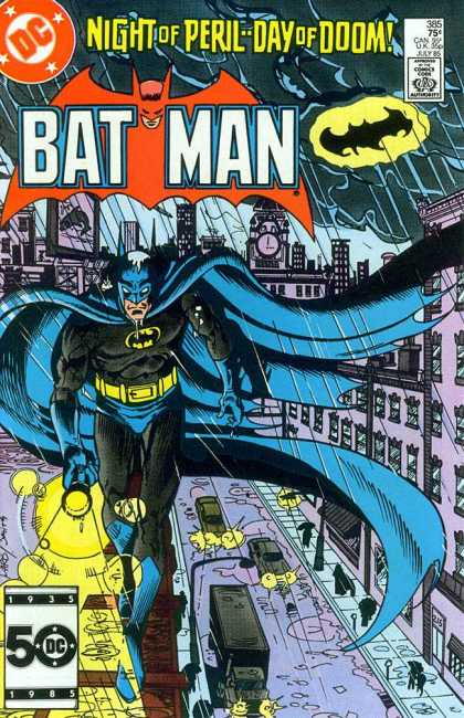 Batman 385 - Night Of Perilday Of Doom - Rain - Bat Signal - Clock Tower - Puddles