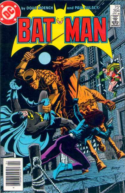 Batman 394 - Doug Moench - Paul Gulacy - Approved By The Comics Code - Horse - Robin - Paul Gulacy