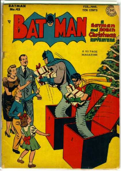 Batman 45 - Blue Cape - Yellow Cape - Christmas Tree - Christmas Presents - Family Of 4
