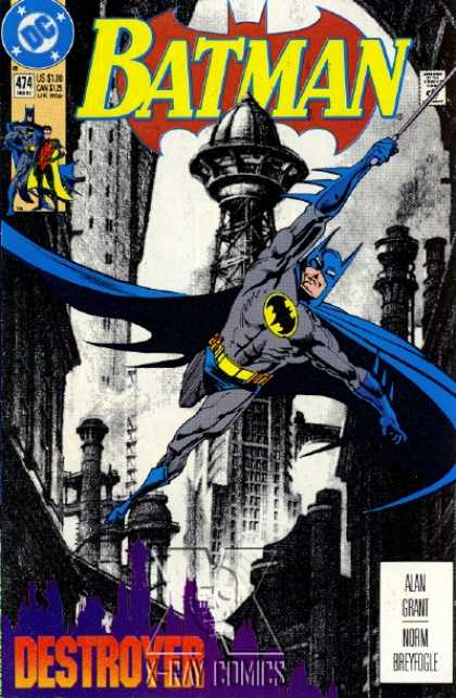 Batman 474 - Blue Cape - Bat - Tall Building - Destroyer - Alan Grant - Norm Breyfogle