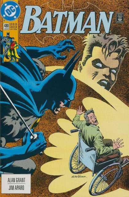 Batman 480 - Wheelchair - Terrified - Shadows - Alan Grant - Jim Aparo - Michael Netzer
