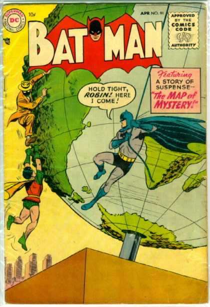 Batman 91 - Batman Scans The Globe - Cliffhanger - Masked Man - Can You Solve The Map Of Mystery - Gold Suit