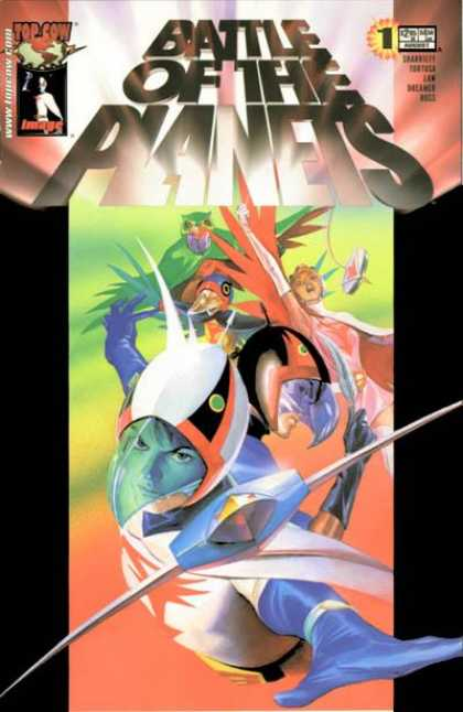 Battle of the Planets 1 - Super Heroes Flying - Wearing Helmets - Top Cow - Bird Man - Woman With Wings - Michael Turner