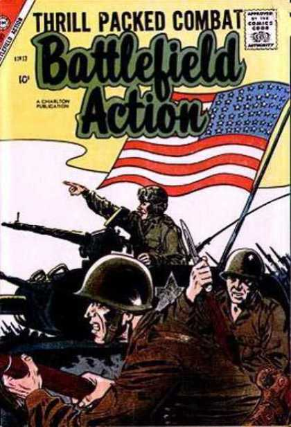 Battlefield Action 17 - American Soldiers - War - American Flag - Bayonet - Tank