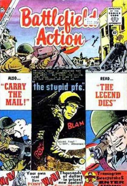 Battlefield Action 30 - Approved By The Comics Code Authority - Gun - Carry The Mail - Blam - The Legend Dies