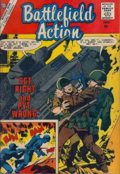 Battlefield Action 31 - Approved By The Comics Code Authority - Cap - Gun - Bam - Pvt Wrong