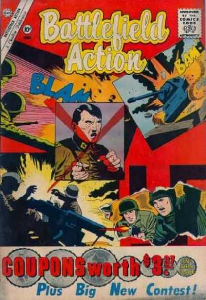 Battlefield Action 35 - Approved By The Comics Code - Blam - Tank - Plus Big New Contest - Machinegun