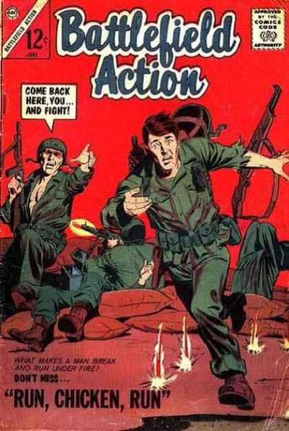 Battlefield Action 53 - Come Back Here You And Fight - Approved By The Comics Code - 12 Cents - Guns - Run Chicken Run