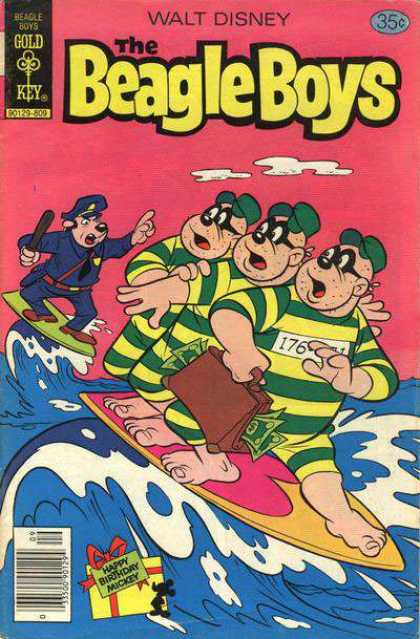 Beagle Boys 44 - Walt Disney - Gold Key - Happy Birthday Mickey - Surfing - Policeman