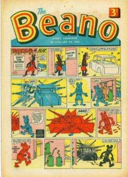 Beano 1103 - Comic Strip - Cars - Blue Paint - Red Paint - Spray