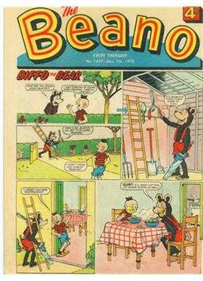 Beano 1477 - Bear - Ladder - Saw - Suspenders - Red Checkered Tablecloth