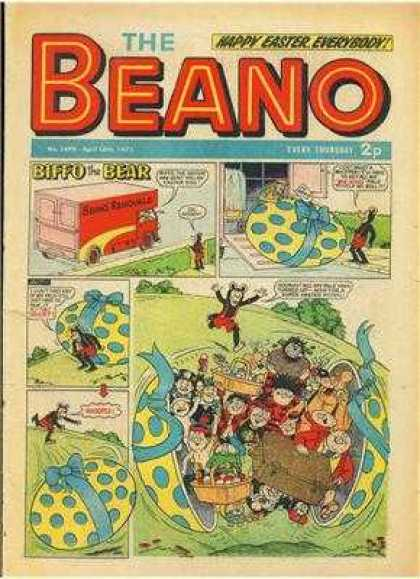 Beano 1499 - Bear - Biffo - Easter Egg - Delivery Truck - People In Egg