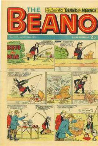 Beano 1517 - Beano - Dennis The Menace - Biffo The Bear - Fishing Pole - Fishing Basket
