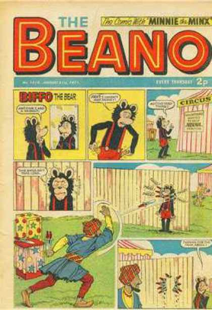 Beano 1518 - The Comic With Minnie The Minx - Suspenders - Circus - Knife Throwing - Biffo The Bear