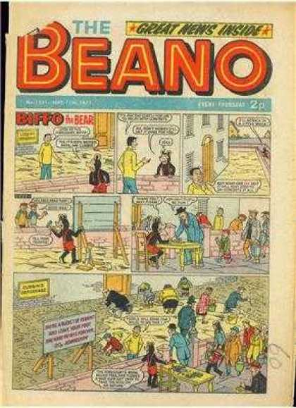 Beano 1521 - Great News Inside - Biffo - Comic Panels - The Bear - Table