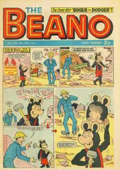 Beano 1528 - Rodger That Dodger - 2p - Biffo - Sledge Hammer - Construction
