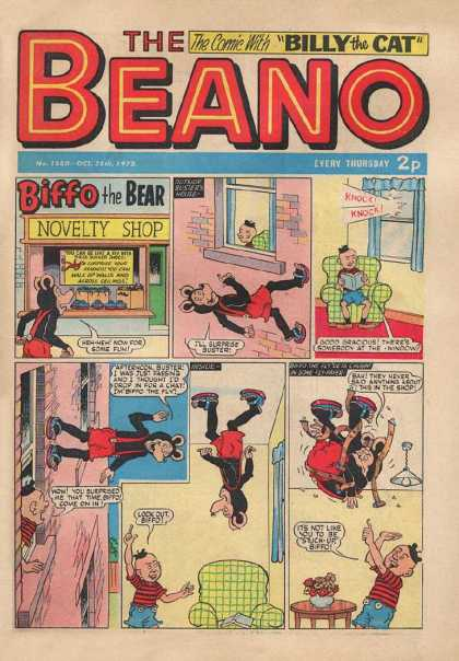 Beano 1580 - Billy The Cat - Biffo The Bear - Novelty Shop - Sofa - Small Boy