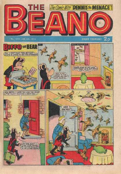 Beano 1590 - With Dennis The Menace - Biffo The Bear - Birds - Red Door - Suit Case