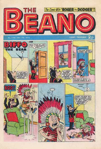Beano 1596 - Biffo The Bear - Buster The Indian - Roger The Dodger - Scares Buster - Biffo Scares Indian
