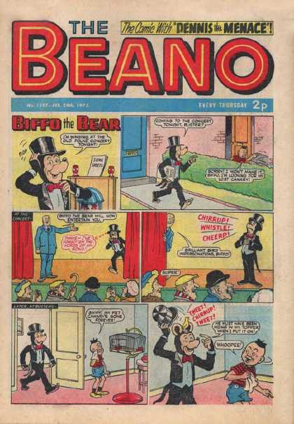 Beano 1597 - Dennis The Menace - Biffo The Bear - Comic Strips - The Concert - The Top Had