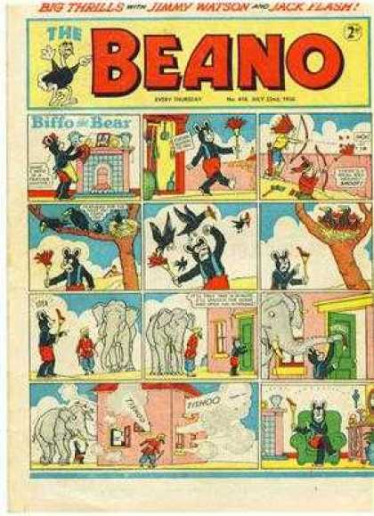 Beano 418 - Big Thrills - Jimmy Watson - Jack Flash - Biffo The Bear - Elephants
