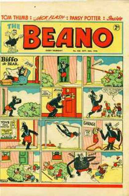 Beano 428 - Tom Thumb - Jack Flash - Pansy Potter - Biffo The Bear - Strip