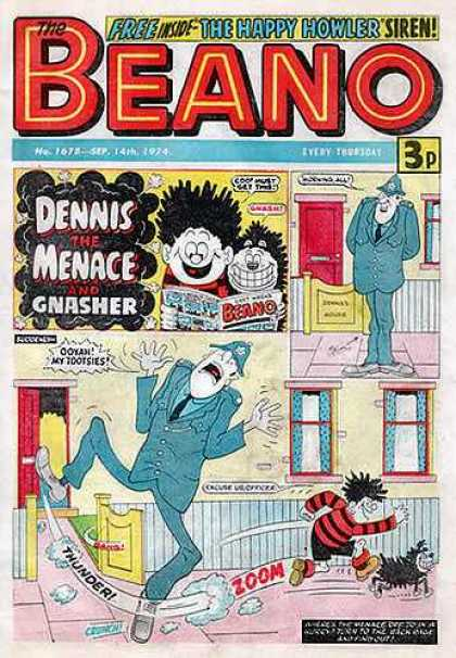 Beano 452 - Dennis The Menace - Happy Howler - Gnasher - Policeman - Fence