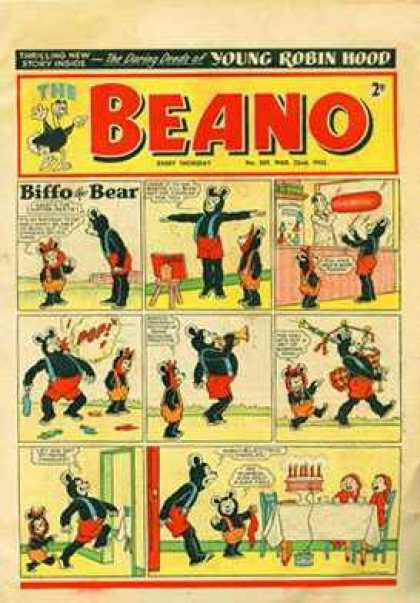 Beano 505 - Biffo Bear - Little Bear Big Bear - Comic Strip On Front Cover - Young Robin Hood - Exercise