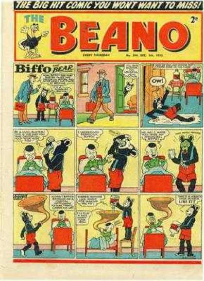 Beano 594 - The Big Hit - Biffo Bear - Want Ot Miss - Hat Man - Bed Men