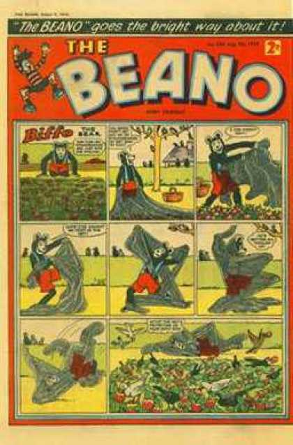 Beano 838 - Comic Strip - Biffo The Bear - Picnic - Outdoors - Tangled