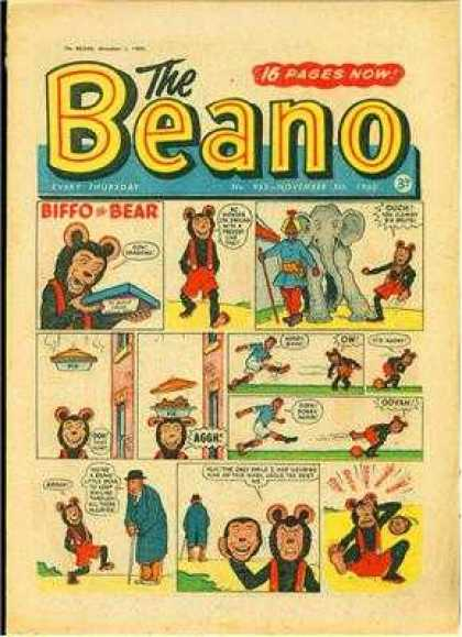 Beano 955 - 16 Pages Now - Biffo The Bear - Elephant - Pie - Man