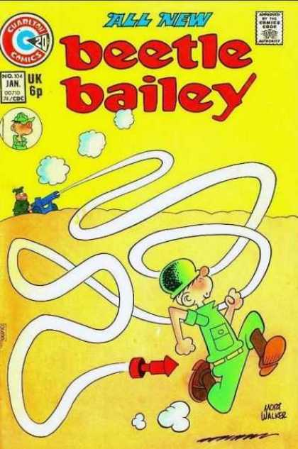 Beetle Bailey 104 - Cuarlton Comics - Comics Code - Soldier - Cannon - Rocket