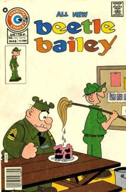 Beetle Bailey 115 - Charlton Comics - Comics Code - Soldier - All New - Cake
