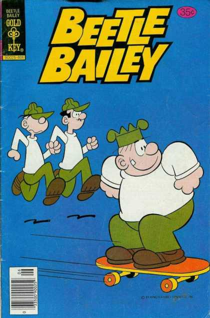 Beetle Bailey 121 - Beetle Bailey - Sunday Comics - Blue Background - Overbite - Skateboard
