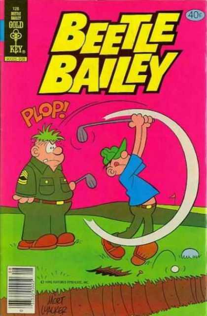Beetle Bailey 128 - Sergeant - Golf Club - Golf Tee - Golf Swing - Grass Plug On Head