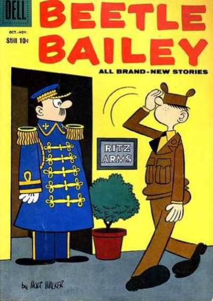 Beetle Bailey 17 - Ritz Arms - Tree - Saluting - Elevator - User In Blue Uniform