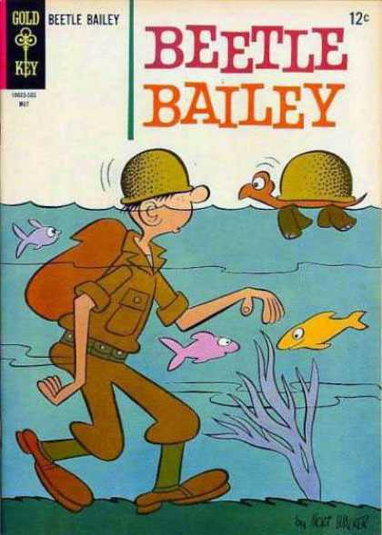 Beetle Bailey 49 - Hat - Turtle - Man Under Water - Fishes - Backpack