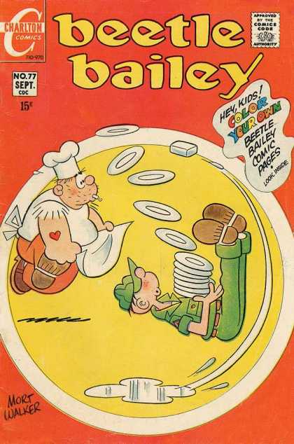 Beetle Bailey 77 - Heart Tattoo - Dishes - Color Your Own Comic - Army - Mort Walker