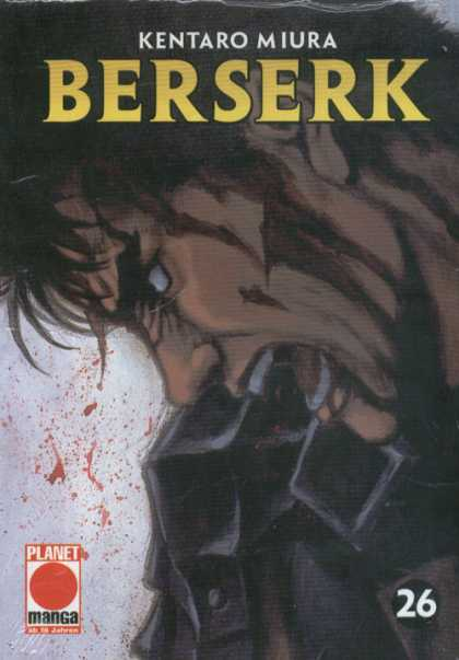 Berserk 25 - Kentaro Miura - Angry Man On Cover - Blood Spatter In Back Ground - Volume 26 - Planet Manac