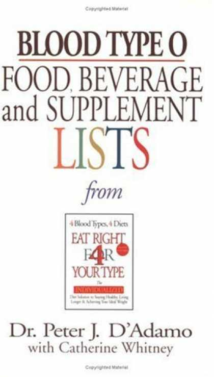 Bestsellers (2006) - Blood Type O Food, Beverage and Supplemental Lists (Food, Beverage and Supplemen