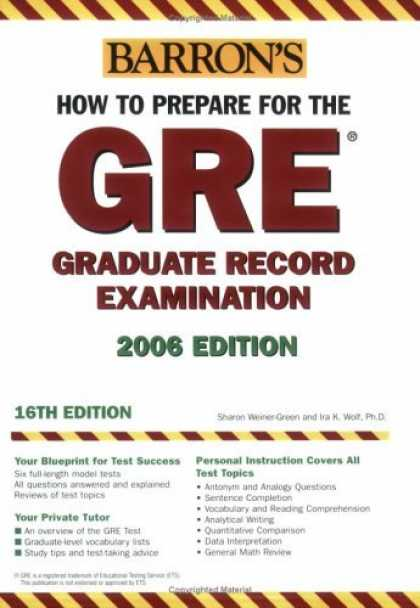 Bestsellers (2006) - How to Prepare for the GRE: 2006-2007 (Barron's How to Prepare for the Gre: Grad