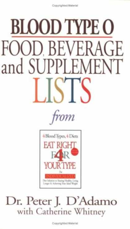 Bestsellers (2007) - Blood Type O Food, Beverage and Supplemental Lists (Food, Beverage and Supplemen