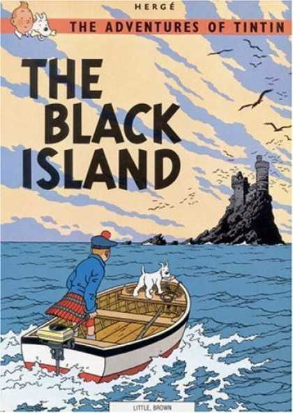 Bestselling Comics (2006) - The Black Island (The Adventures of Tintin) by Herge - The Adventures Of Tintin - Herge - The Black Island - Black Stone Castle - Brown Motor Boat On Rough Sea