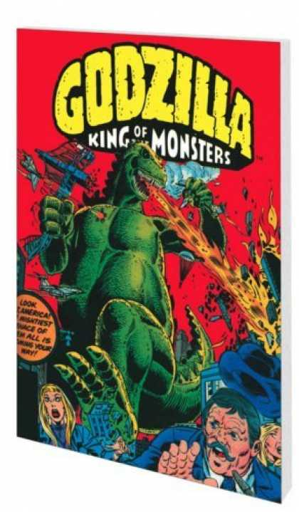 Bestselling Comics (2006) 1394 - Godzilla - Breathing Fire - Planes Flying - Stepping On Building - People Running Away