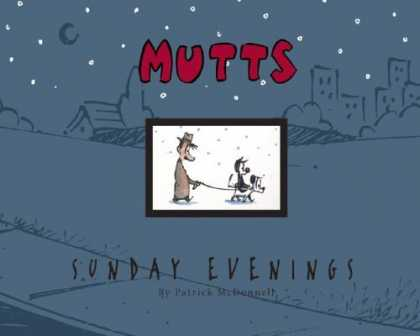 Bestselling Comics (2006) - Mutts Sunday Evenings: A Mutts Treasury (Mutts) by Patrick McDonnell - Mutts Sunday Evening - Mutts - Sunday Evening - Cat Riding A Dog - Man Walking Dog And Cat