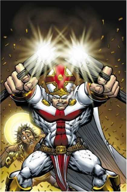 Bestselling Comics (2006) - Battle Pope Volume 1: Genesis by Robert Kirkman - Red - Gold - Priest - Guns - Jesus