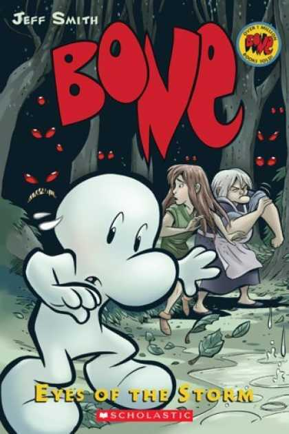 Bestselling Comics (2006) - Bone Volume 3: Eyes of the Storm by Jeff Smith - Red - Eyes - Woods - Trees - People